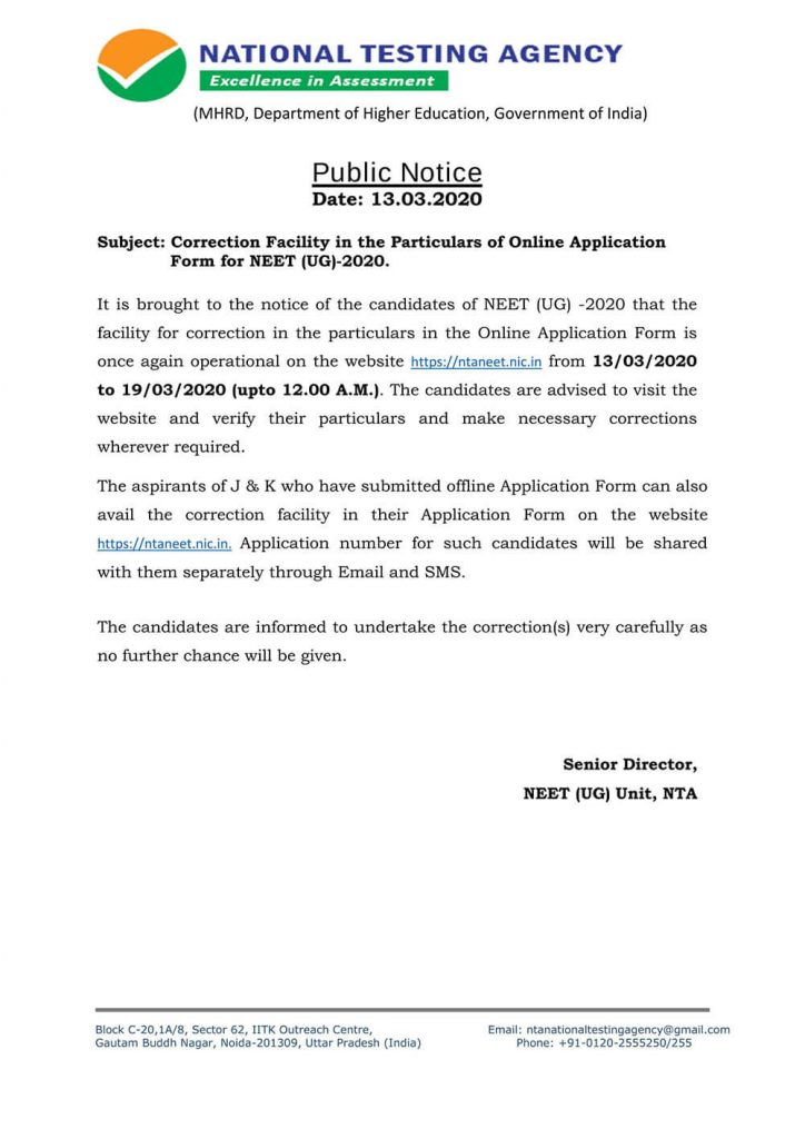 Notice for NEET 2020 Application Form Correction