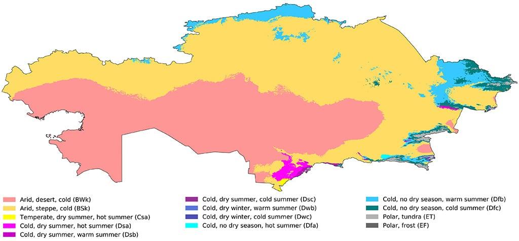Koppen-Geiger Map Kazakhstan